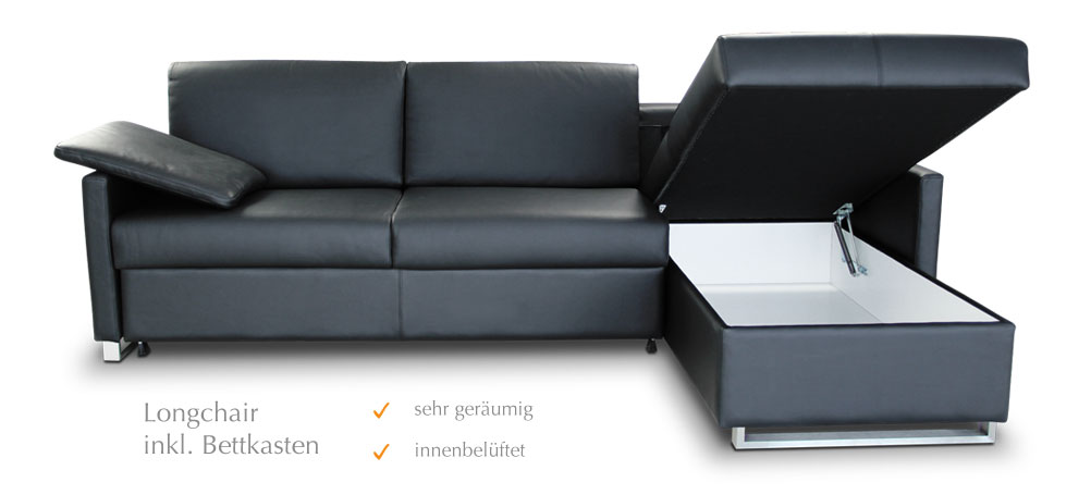 Bettsofa mit bettkasten for Schlafsofa mit lattenrost